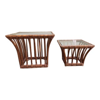 Vintage Rattan Glass Topped Tapered Rattan Tables - a Pair For Sale