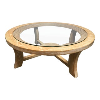 1940s Mid-Century Modern Paul Frankl for Brown Saltman Round Cerused Oak Coffee Table For Sale
