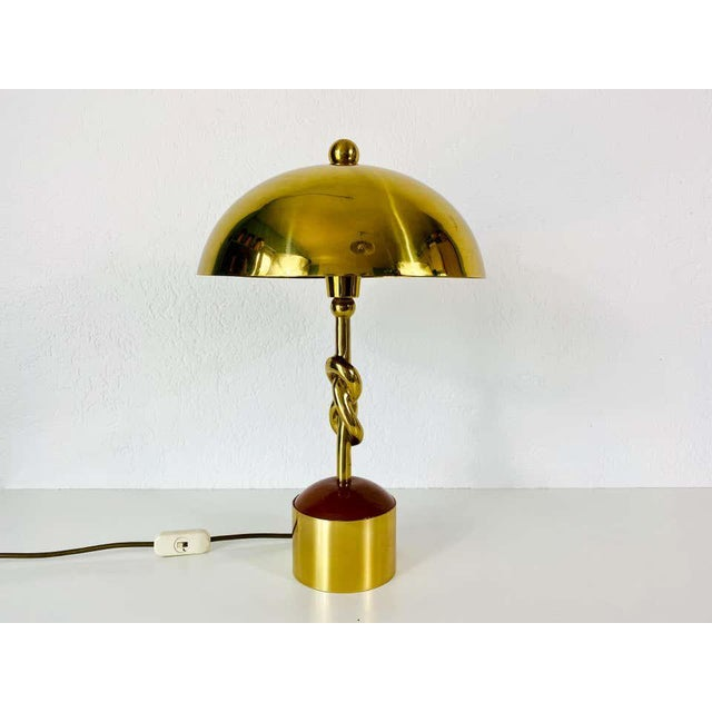 1960s Heavy Italian Midcentury Solid Brass Table Lamp, 1960s, Italy For Sale - Image 5 of 13