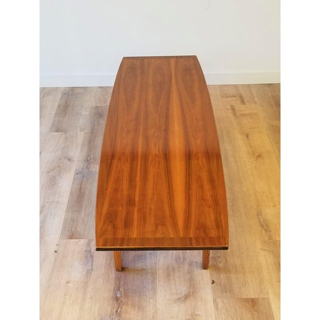 Mid-Century Modern Stanley Teak Surfboard Coffee Table With Drawer For Sale - Image 3 of 8