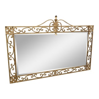 Vintage French Provincial Ornate Wrought Iron Gold Wall Mantle Mirror For Sale