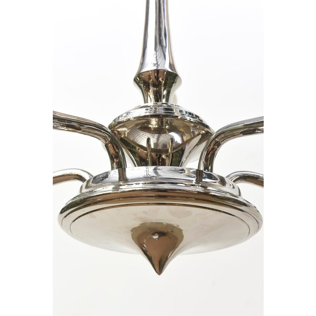 Contemporary Chrome Chandelier For Sale - Image 4 of 4