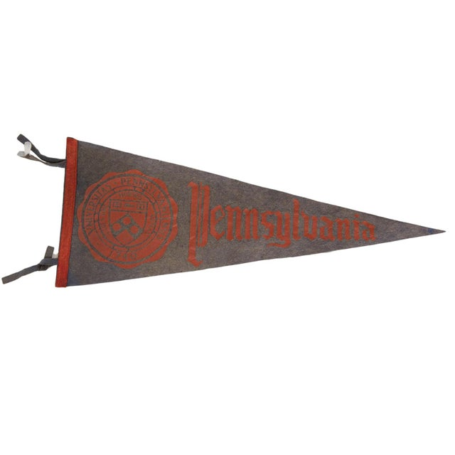 1950s Vintage 1950s Pennsylvania University Large Felt Pennant For Sale - Image 5 of 5