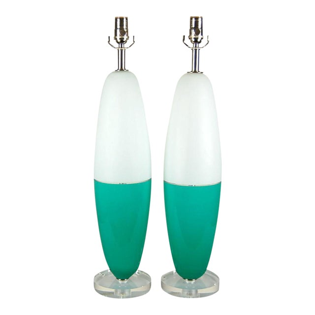 Vintage Murano Glass Capsule Table Lamps in Aqua White For Sale