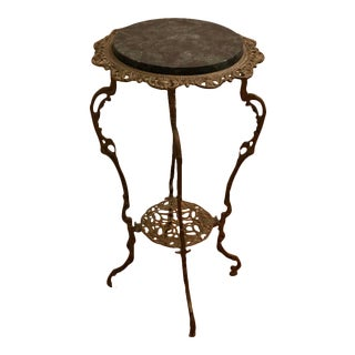 1940s Vintage Scrolled Brass Plant Stand For Sale