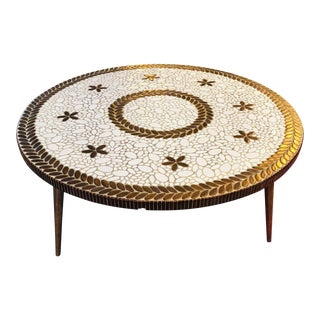 Mid-Century Modern Round Coffee Table With White, Gold, and Brass Colored Tiles For Sale