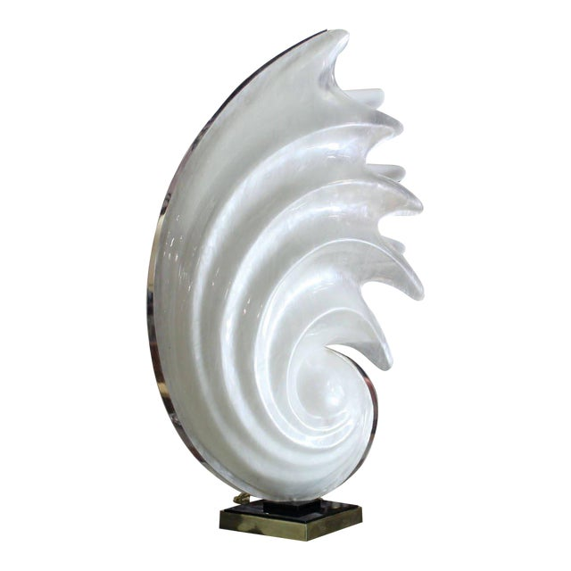 White Molded Acrylic Mid-Century Modern Sculptural Table Lamp For Sale - Image 9 of 9
