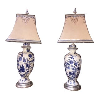 Pair of Painted Blue & White Porcelain Lamps With Custom Shades For Sale