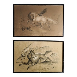 Original 19th Century Drawings of Hunting Scenes, Signed by Arist R. Sutton and Dated 1877 - Pair of Two