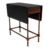 Image of Traditional Side Table With Drop-Leaf Black Top For Sale