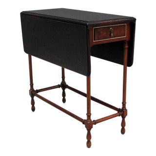 Traditional Side Table With Drop-Leaf Black Top For Sale