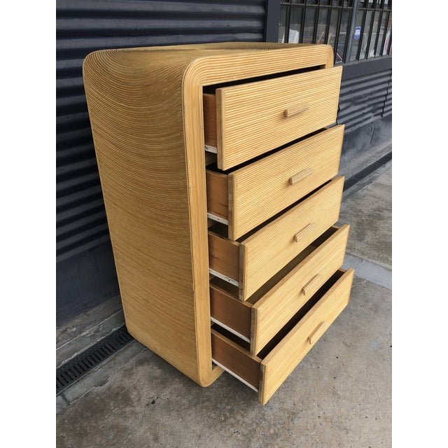 Late 20th Century Vintage Pencil Reed Rattan Chest of Drawers For Sale - Image 5 of 13