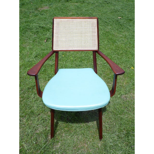 Mid-Century Modern Walnut & Cane Dining Chairs - Set of 4 For Sale - Image 9 of 11