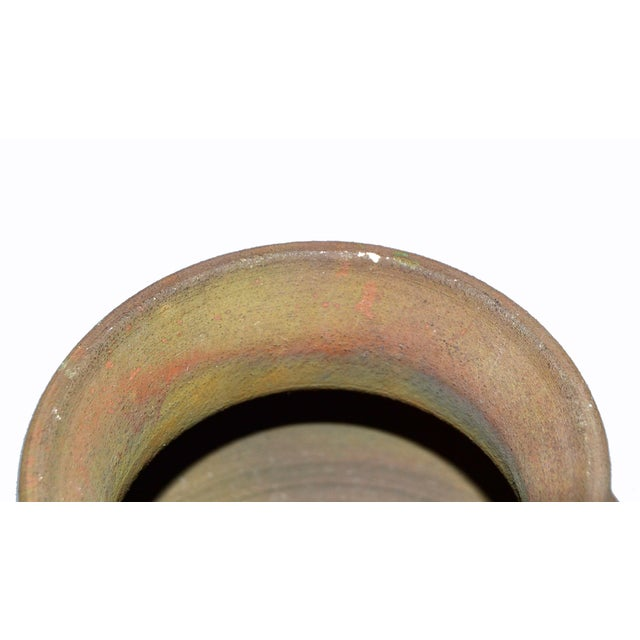 Metal Signed Mid-Century Modern Brown, Blue & Gold American Raku Vase, Vessel, Urn For Sale - Image 7 of 13