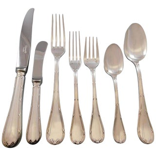 Rubans by Christofle France Silverplate Flatware Set 12 Service Dinner 92 Pieces For Sale