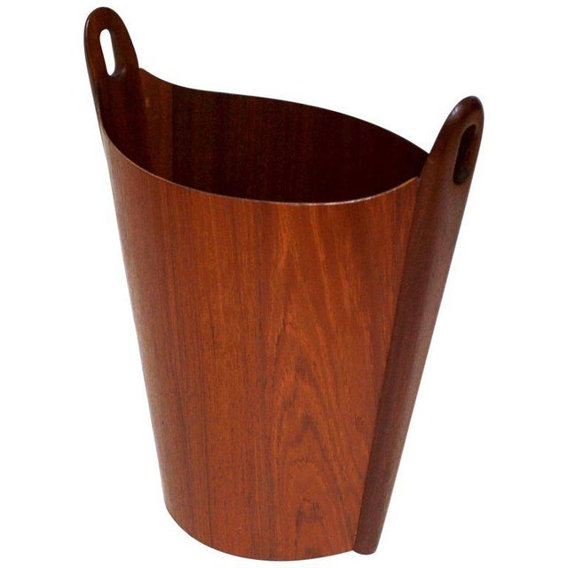 1960s Einar Barnes for P. S. Heggen Teak Wastepaper Basket - Image 11 of 11