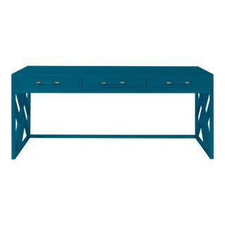 Casa Cosima CeCe Desk with Wood Fretwork Base, Blue Danube For Sale