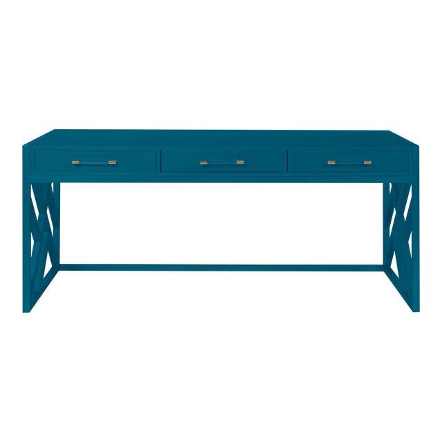 Casa Cosima CeCe Desk with Wood Fretwork Base, Blue Danube For Sale