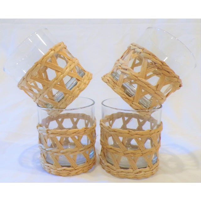 Glass Vintage Rafia Wrapped Double Old Fashion Glasses - Set of 4 For Sale - Image 7 of 9