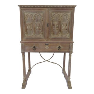 A Spanish Style Vargueno Cabinet on Stand Baroque Oak Bar Grand Rapids Bookcase For Sale