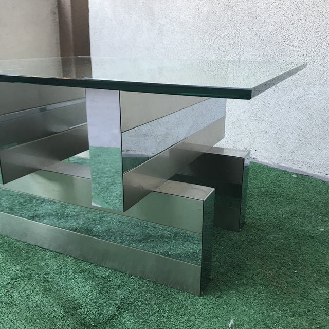 1970s Minimalist Paul Evans Cityscape Chrome Clad Cocktail Table For Sale In Los Angeles - Image 6 of 7