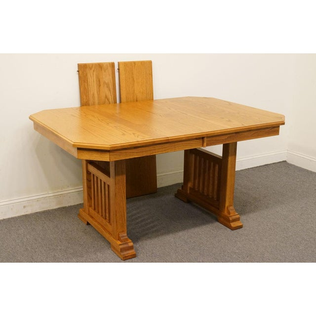 Th Century Mission Richardson Brothers Solid Oak Double Pedestal - Solid oak double pedestal dining table