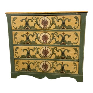 Antique Cottage Painted Pine 4-Drawer Dresser For Sale