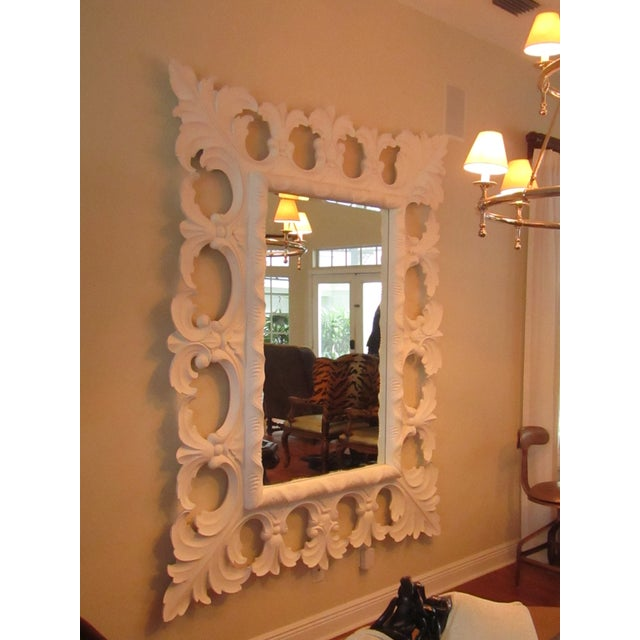 Wood Modern Christopher Guy Elaborately Carved Wood Framed Mirror For Sale - Image 7 of 10