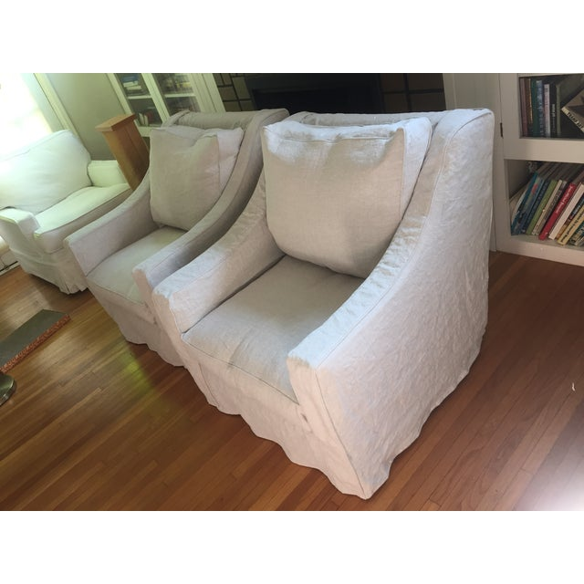 Designer Linen Slipcover Club Chairs - A Pair - Image 3 of 7