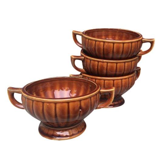 Vintage Amber Pedestal Bowls - Set of 4 - Image 1 of 8