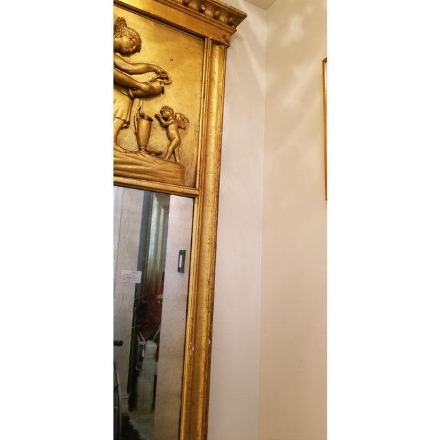 Tall Antique French Golt Gold Trumeau Mirror For Sale - Image 9 of 13