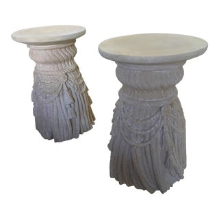 1970s Vintage Hollywood Regency Inspired Pedestals - A Pair For Sale
