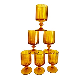 Midcentury Amber Stemware Goblets, Set of Six For Sale