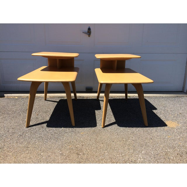 Heywood Wakefield Wheat Finished End Tables- A Pair - Image 4 of 8