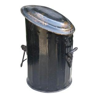 Antique English Regency Black Tole Coal Scuttle - Waste Bin For Sale