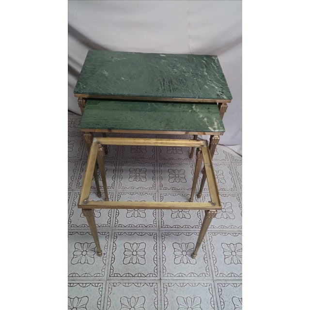 French Brass/Bronze Marble Top Nesting Tables- S/3 For Sale - Image 5 of 9