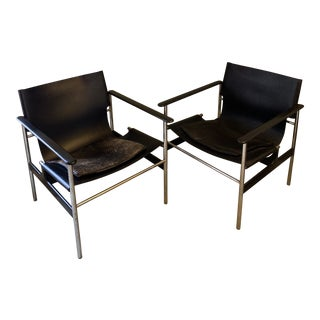 Charles Pollack for Knoll Leather & Chrome Sling Chairs - a Pair For Sale