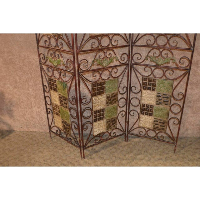 1980s Vintage 3-Panel Folding Screen For Sale - Image 10 of 13