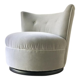Mohair Velvet Upholstered Swivel Sidechair 1970s For Sale