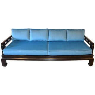 Black Lacquer Sofa Baker Style With Chippendale Fretwork and Blue Velvet For Sale