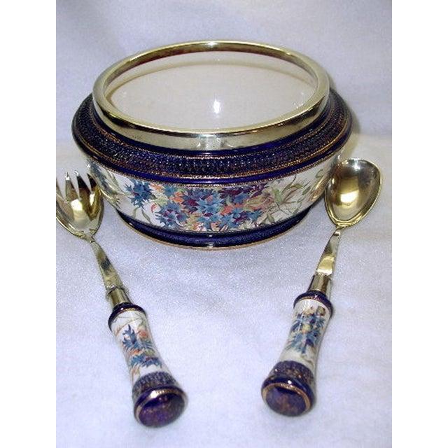 19th Century English Signed Porcelain Silver Salad Set - S/3 - Image 10 of 10