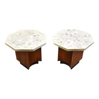 Harvey Probber Terrazzo Walnut End Tables- a Pair For Sale