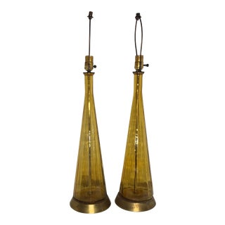 Empoli Amber Glass Lamps - a Pair For Sale