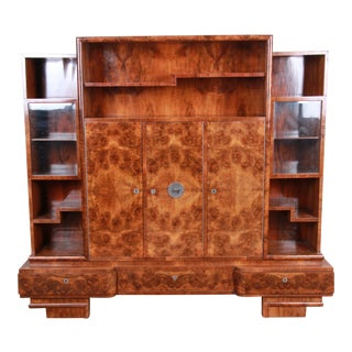 Lajos Kozma Art Deco Burled Rosewood Bookcase Wall Unit or Bar Cabinet, 1930s For Sale