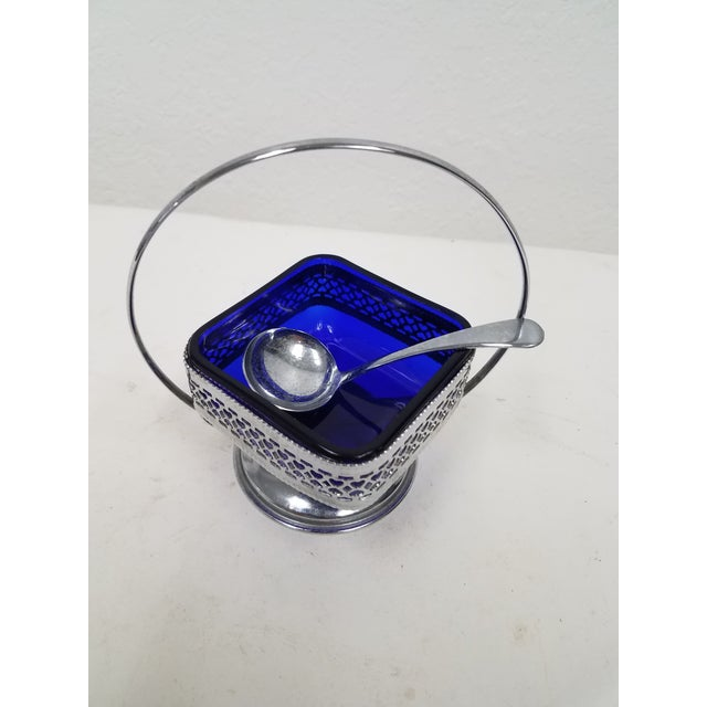 Antique English Cobalt Blue Silver plate Condiment Server We liked this server because of the cobalt blue glass insert,...