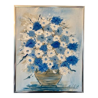 Mid-Century Modern Blue and White Floral Painting For Sale