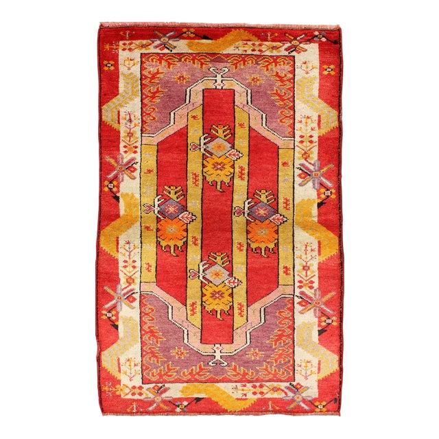 Keivan Woven Arts, L11-0802, 1920s Antique Turkish Oushak Rug - 3′ × 4′10″ For Sale