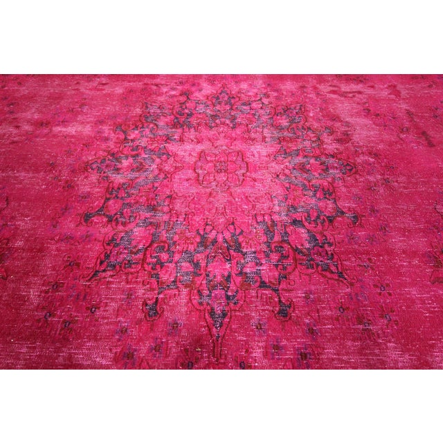 """Pink Overdyed Oriental Floral Rug - 9'6"""" x 14'10"""" - Image 8 of 10"""