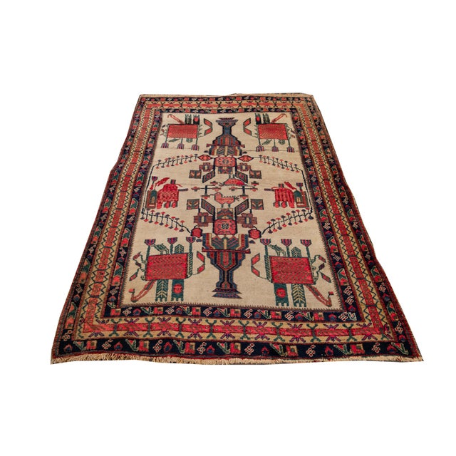 Mid-20th Century Vintage Persian Rug 4' 2'' X 6' 3''. For Sale - Image 11 of 12