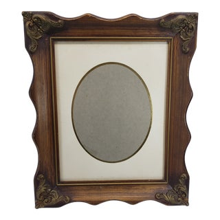 Vintage Original Oval Linen Matte Wooden Frame For Sale